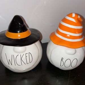 Rae Dunn boo and wicked gnome candles